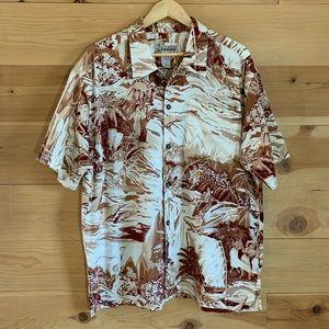 Patagonia Pataloha Brown & Tan Hawaiian Shirt XL